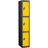 Probe 3 Door Extra Deep Locker ACTIVECOAT W305xD460xH1780mm Black Body Yellow Doors