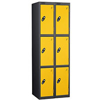 Probe 3 Door Locker Nest of 2 Black Body Yellow Doors By Lion Steel