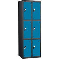 Probe 3 Door Extra Deep Locker Nest of 2 Black Body Blue Doors By Lion Steel
