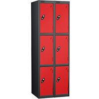 Probe 3 Door Extra Deep Locker Nest of 2 Black Body Red Doors By Lion Steel