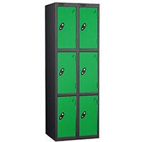 Probe 3 Door Extra Deep Locker Nest of 2 Black Body Green Doors By Lion Steel