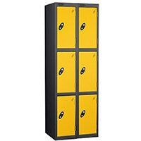 Probe 3 Door Extra Deep Locker Nest of 2 Black Body Yellow Doors By Lion Steel