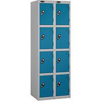 Probe 4 Door Locker Extra Deep Nest of 2 Silver Body Blue Door By Lion Steel