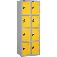 Probe 4 Door Locker Extra Deep Nest of 2 Silver Body Yellow Door By Lion Steel
