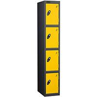 Probe 4 Door Extra Deep Locker ACTIVECOAT W305xD460xH1780mm Black Body Yellow Doors