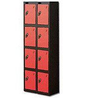 Probe 4 Door Locker Nest of 2 Black Body Red Door By Lion Steel