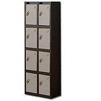 Probe 4 Door Locker Extra Deep Nest of 2 Black Body & Silver Door By Lion Steel
