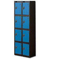 Probe 4 Door Locker Extra Deep Nest of 2 Black Body & Blue Door By Lion Steel