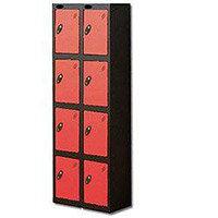 Probe 4 Door Locker Extra Deep Nest of 2 Black Body & Red Door By Lion Steel