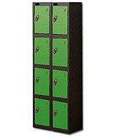 Probe 4 Door Locker Extra Deep Nest of 2 Black Body & Green Door By Lion Steel