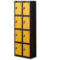 Probe 4 Door Locker Extra Deep Nest of 2 Black Body & Yellow Door By Lion Steel