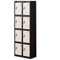 Probe 4 Door Locker Extra Deep Nest of 2 Black Body & White Door By Lion Steel