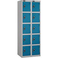 Probe 5 Door Extra Deep Locker Nest of 2 Silver Body & Blue Doors By Lion Steel