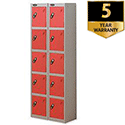 Probe 5 Door Extra Deep Locker Nest of 2 Silver Body Red Doors By Lion Steel