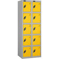 Probe 5 Door Extra Deep Locker Nest of 2 Silver Body Yellow Doors By Lion Steel