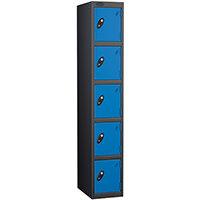 Probe 5 Door Extra Deep Locker ACTIVECOAT W305xD460xH1780mm Black Body Blue Doors