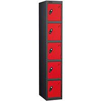 Probe 5 Door Extra Deep Locker ACTIVECOAT W305xD460xH1780mm Black Body Red Doors