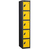 Probe 5 Door Extra Deep Locker ACTIVECOAT W305xD460xH1780mm Black Body Yellow Doors