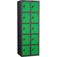 Probe 5 Door Locker Nest of 2 Black Body Green Doors By Lion Steel