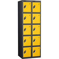 Probe 5 Door Locker Nest of 2 Black Body Yellow Doors By Lion Steel
