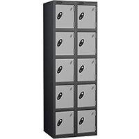 Probe 5 Door Extra Deep Locker Nest of 2 Black Body & Silver Doors By Lion Steel