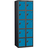 Probe 5 Door Extra Deep Locker Nest of 2 Black Body Blue Doors By Lion Steel