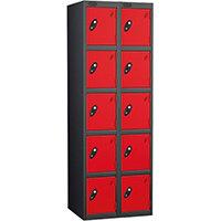 Probe 5 Door Extra Deep Locker Nest of 2 Black Body & Red Doors By Lion Steel