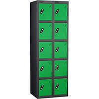 Probe 5 Door Extra Deep Locker Nest of 2 Black Body & Green Doors By Lion Steel