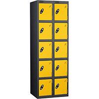 Probe 5 Door Extra Deep Locker Nest of 2 Black Body & Yellow Doors By Lion Steel