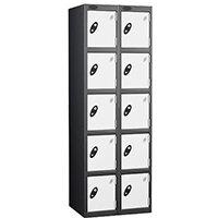 Probe 5 Door Extra Deep Locker Nest of 2 Black Body & White Doors By Lion Steel
