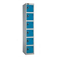 Probe 6 Door Extra Deep Locker ACTIVECOAT W305xD460xH1780mm Silver Body Blue Doors