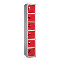 Probe 6 Door Extra Deep Locker ACTIVECOAT W305xD460xH1780mm Silver Body Red Doors