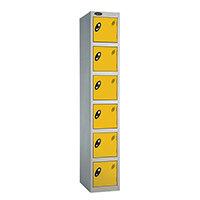 Probe 6 Door Extra Deep Locker ACTIVECOAT W305xD460xH1780mm Silver Body Yellow Doors