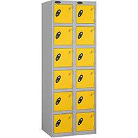 Probe 6 Door Extra Deep Locker Nest of 2 Silver Body Yellow Doors By Lion Steel