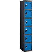 Probe 6 Door Extra Deep Locker ACTIVECOAT W305xD460xH1780mm Black Body Blue Doors