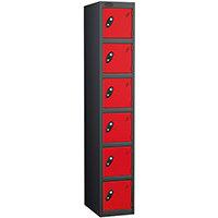 Probe 6 Door Extra Deep Locker ACTIVECOAT W305xD460xH1780mm Black Body Red Doors
