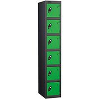 Probe 6 Door Extra Deep Locker ACTIVECOAT W305xD460xH1780mm Black Body Green Doors