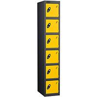 Probe 6 Door Extra Deep Locker ACTIVECOAT W305xD460xH1780mm Black Body Yellow Doors