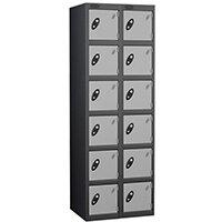 Probe 6 Door Locker Nest of 2 Black Body Silver Doors