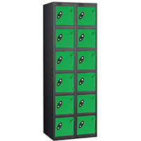 Probe 6 Door Locker Nest of 2 Black Body Green Doors