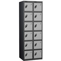 Probe 6 Door Extra Deep Locker Nest of 2 Black Body Silver Doors
