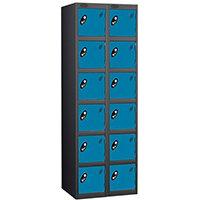 Probe 6 Door Extra Deep Locker Nest of 2 Black Body Blue Doors