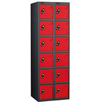 Probe 6 Door Extra Deep Locker Nest of 2 Black Body Red Doors
