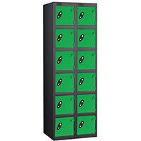 Probe 6 Door Extra Deep Locker Nest of 2 Black Body Green Doors