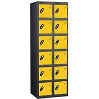 Probe 6 Door Extra Deep Locker Nest of 2 Black Body Yellow Doors