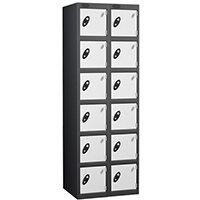 Probe 6 Door Extra Deep Locker Nest of 2 Black Body White Doors
