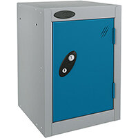 Probe Quarto 1 Door Small Locker ACTIVECOAT 305x305x480mm Silver Body & Blue Doors