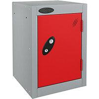 Probe Quarto 1 Door Small Locker ACTIVECOAT 305x305x480mm Silver Body & Red Doors