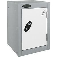 Probe Quarto 1 Door Small Locker ACTIVECOAT 305x305x480mm Silver Body & White Doors