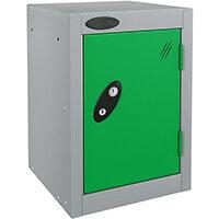 Probe Quarto 1 Door Small Locker Extra Deep ACTIVECOAT 305x460x480mm Silver Body & Green Doors